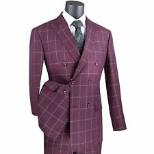 VINCI Men's Burgundy Windowpane Double Breasted 6 Button Modern Fit Suit NEW