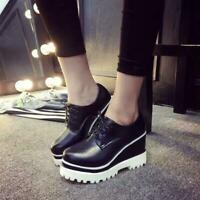 Women Round Toe Wedge Heel Creeper Lace Up Platform Leather Oxfords Casual Shoes