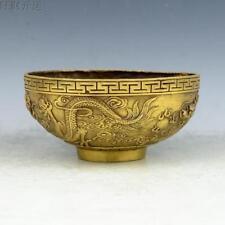 120 mm Chinese antique handmade brass statue dragon bowl