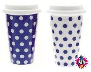 NEW RETRO VINTAGE CASCADE POLKA DOT BLUE AND WHITE THERMAL INSULATED TRAVEL MUG