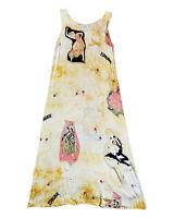 CITRON Womens Maxi Dress Medium Yellow Salsa Dancers Rayon Silk Sleeveless