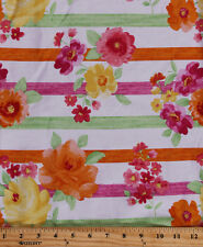 Pre-Smocked Sundress Fabric Stripes Floral Flowers Striped Botanical A415.13