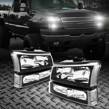 Pair Set Headlight Assembly For 03 2007 Chevy Silverado 1500 2500 Black Housing Fits More Than One Vehicle
