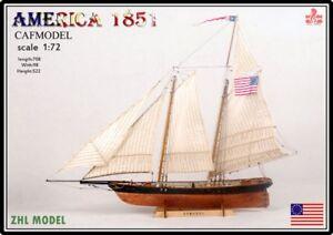 America 1851 wood ship Kit 1/72 Scale wooden ship model kit unassembled