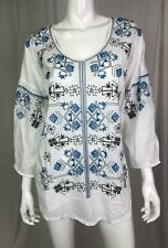 NWT Kyla Seo Caite Women's White Embroidered Aztec Oversize Boho Tunic Top Small