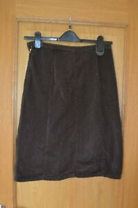 Ladies Sisley Brown Corduory Knee Length Skirt Size 42 10 - 12