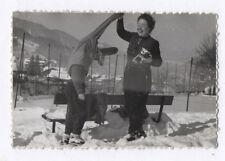 PHOTO Photographe Photographié Autoportrait Caméra Appareil 1960 Neige Hiver