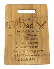 Recipe for a Dad Laser Engraved Bamboo Wood Cutting Board New Gift Father's Day