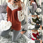Fashion Women Knitted Pullover Jumper Sweater Lace Long Sleeve Knitwear Tops