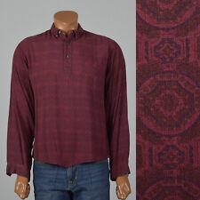 XL 1950s Dobie Gillis Burgundy Shirt VTG Long Sleeve Peak Hem Rayon Pull Over