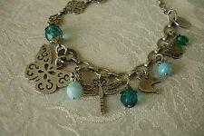 Chorange French Charm Bracelet Butterfly Blue Beads Paris France