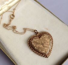 Vintage Ibsen 14K Yellow Gold & Semi-Precious Stone Heart Shaped Locket Necklace