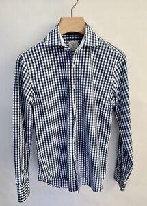 BOGGI MILANO Blue White Check Cotton  Shirt Size 39 15 Collar