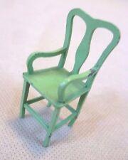 Muebles Vintage Casa De Muñecas-Tootsie Toy Metal Verde Pintada Silla de Carver-Raro