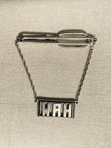 VINTAGE SWANK STERLING SILVER TIE CLIP WITH INITIALS- W. A. H. - VERY DIFFERENT