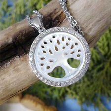 """Small Silver """"Tree of Life"""" Mother of Pearl Pendant CZ Necklace"""