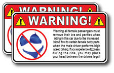 2pk Funny Warning Decal Sticker NO BRA & PAINTIES Vinyl Graphic 3M Trunk Car