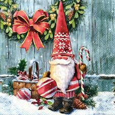4 Lunch Paper Napkins for Decoupage Party Table Craft Vintage Christmas Gnome