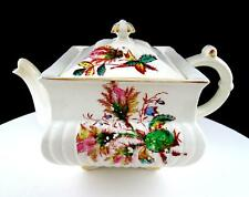 """OB OPAQUE WARRANTED CHINA SQUARE FLORAL ANTIQUE 5 3/8"""" TEAPOT"""