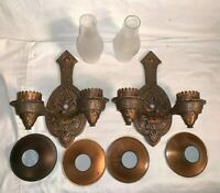 Antique matching pair 2 Cast metal PAULDING WALL SCONCE Copper GOTHIC Medieval