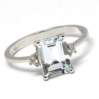 Ring aus Weißgold 750 18K, Aquamarin Schliff Smaragd, Diamanten