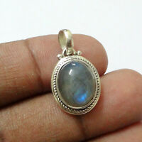 Natural Labradorite Gemstone 925 Sterling Solid Silver Pendant Beautiful Jewelry
