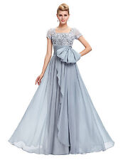 Grey Chiffon Lace Womens Long Wedding Formal Ball Gown Evening Prom Party Dress