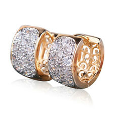 Sparkly Shiny Clear White Cubic Zircon 18k Gold Plated Round Small Hoop Earrings