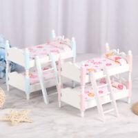 1:12 Dollhouse Miniature Wooden Double-deck Bed Dolls House AccessoriesJCAUJClb