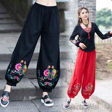 Vintage Floral embroidery Cotton Linen Harem Pants Women Fall Plus size Trousers