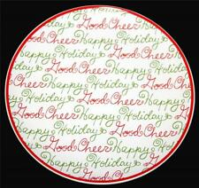 "4 DISNEY Happy Holiday Good Cheer Green Red Cursive Script 9"" Heavy Plates NWOT"