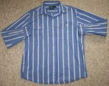 Ralph Lauren Polo Dress Shirt Cotton Medium Striped Button Up Mens Blue White