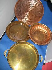 4 German Embossed Brass Deco Plates, Plate, plate w/handles 3 Lbs 9 oz