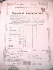 Diploma License normal Salerno 1905 Girls School tests D examination report card