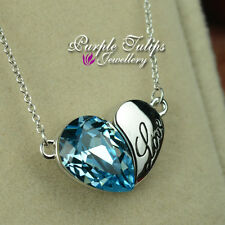 18CT WhiteGold GP Light Sapphire Love Heart Necklace Made With Swarovski Crystal