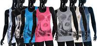 Gorgeous Ladies Print Long Stretch Vest Top size S M L XL 6 8 10 12 14 Tops c60