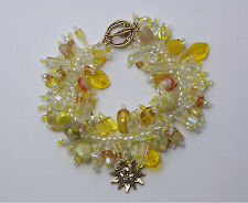 "Bracelet Bead Kit ""Sunshine"" Yellow & white glass beads Fringe Magic NEW"