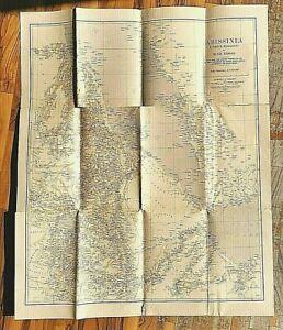 ABISSINIA Carta Geografica  Africa Italiana Mappa Vintage d'epoca fascismo