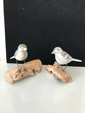 Wooden Pair Of Painted Carved  Bird Sculptures