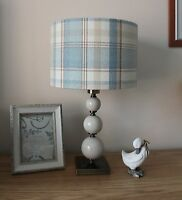 BLUE & CREAM TARTAN FABRIC LAMPSHADE / LIGHTSHADE 30CM HANDMADE