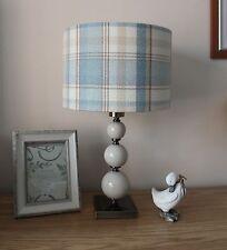 BLUE & CREAM TARTAN FABRIC LAMPSHADE / LIGHTSHADE 40CM HANDMADE