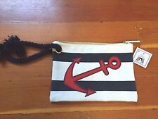 Toss designs women's nautical clutch purse bag navy white striped Anchor
