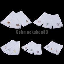12x Vintage Women 100% Cotton Handkerchief Embroidery Lace Hanky Hankies