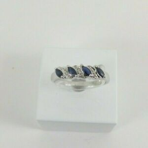 9ct Gold Sapphire Diamond Eternity Ring NEW Hallmarked Size M 1/2 with Gift Box