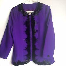 Nolan Miller Womens Blazer Vintage Beaded Purple Wool Size 12