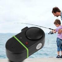 Electronic Black LED Light Fish Bite Sound Alarm Bell On Fishing Rod Clip J7Y9
