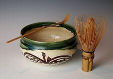 JAPANESE ORIBE TEA CEREMONY KENSUI BOWL WHISK CHASHAKU Pottery Bamboo Chasen Set