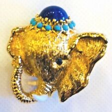 Vintage 1950's Panetta Golden Elephant Brooch Pin
