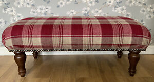 Footstool In Laura Ashley Cranbourne Wool Cranberry Fabric