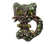 Broche CHAT style Faberge brocheBroche Chaton yeux vert  BROCHE Chat strass vert